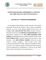Actas de la Comisión de Adquisiciones para la compra de ventiladores