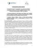 Comunicado de Transparencia Mexicana y TOJIL sobre la falta de información completa